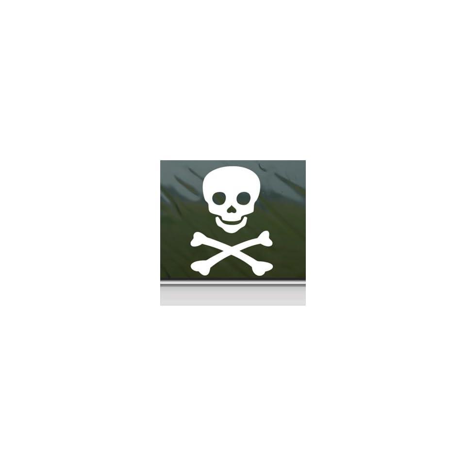 Jolly Roger Pirate Emblem White Sticker Laptop Vinyl Window White Decal