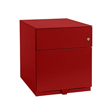 Bisley NWA59M7SF 49 cm Note Pedestal 1 Stationery and 1 Filing Drawer - Cardinal Red