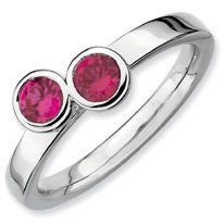 0.65ct Lovely Silver Stackable Db Round Ruby Ring. Sizes 5-10 Available