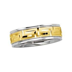Platinum 18ct Two-Tone Designer Band Ring - Size X 1/2 - JewelryWeb