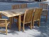 Solid Teak Outdoor Patio Dining Set, 7 pc