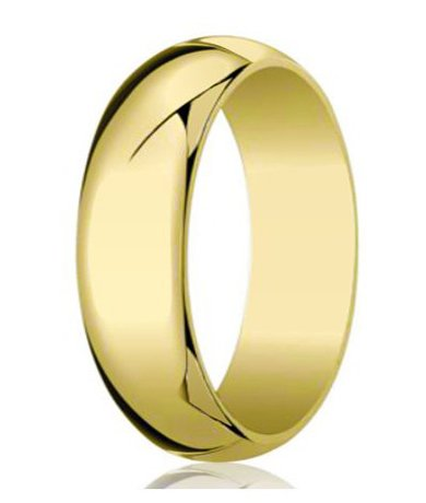 Benchmark Designer Men'S 10K Yellow Gold 8Mm Traditional Wedding Ring With Domed Profile And Polished Finish
