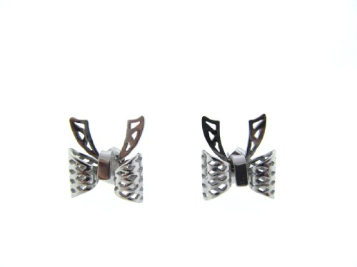Hypoallergenic Non Tarnishing Stainless Steel Butterfly Cuff Earrings with Posts