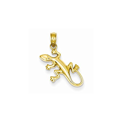 14k Yellow Gold Polished Gecko Pendant