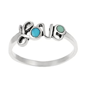 Sterling Silver and Turquoise 'Love' Ring
