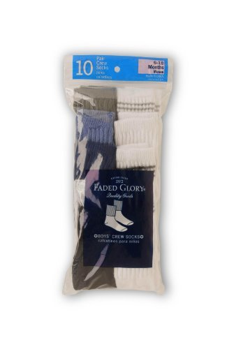 Faded Glory 10 Pack Crew Striped Socks (6-18M)