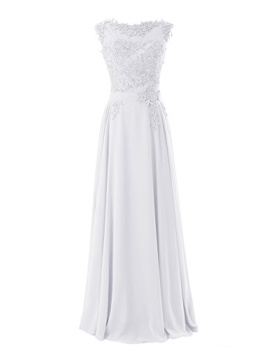 Diyouth Long Bridesmaid Chiffon Prom Dresses Scoop Evening Gowns With Appliques White Size 10
