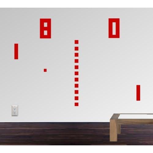 StikEez Red Large Ping Pong Retro Table Tennis 8 bit Fun Wall Decal
