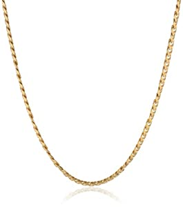 Men's Stainless Steel 18K Gold Plated Classic Cuban Link Necklace, 24