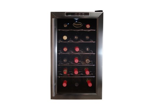 Vinotemp VT-18TEDS Thermo-Electric Digital 18-Bottle Wine Chiller, Black and Stainless