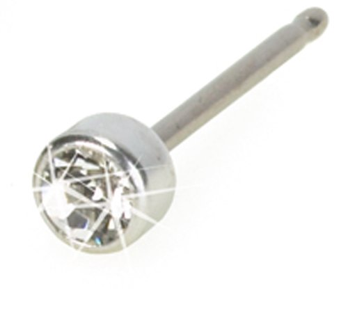 Mini Crystal Silver Titanium Earrings 3mmB00015XMF4