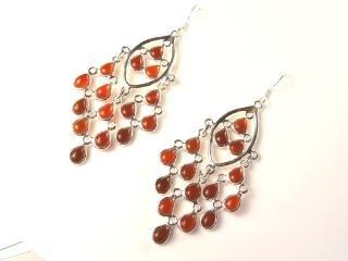 Beautiful Things For Women Carnelian Gemstone Stamped 925 Sterling Silver Drop Earrings 7.7 cm in length and each earring weighs 5.8 g