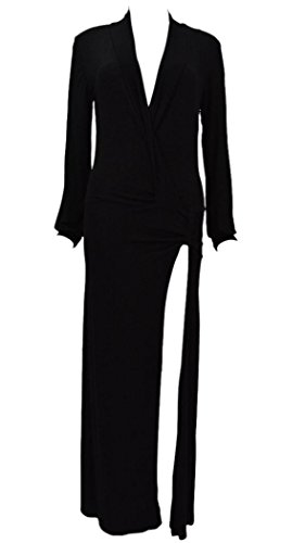 Booty Gal women's Cotton Long Sleeves Sexy High Slit Deep V Neck Party Maxi Dress (Lil Girls Prom Dresses compare prices)