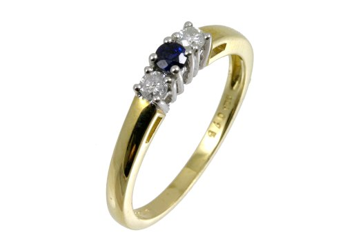 9ct Yellow Gold Diamond and Sapphire 3-Stone Ladies' Ring Size 0