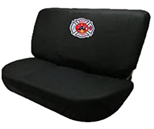 black fire fighter department logo bench seat cover universal car van truck automotive. Black Bedroom Furniture Sets. Home Design Ideas