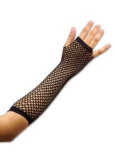 Black Funky Fishnet Fingerless Long Gloves