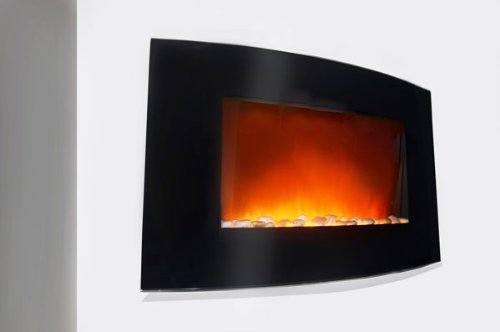 36 inch Wall Mount Modern Space Heater Electric Fireplace Tempered Glass W/Remote Control AX-520AP