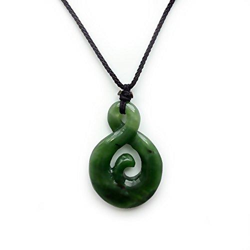 jade genuine nephrite pendant infinity twist amulet
