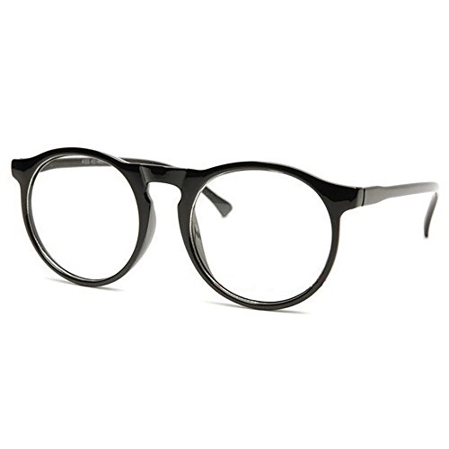 Occhiali neutri KISS® - stile MOSCOT mod. SMOOTH Johnny Depp - montatura da vista RETRO uomo donna unisex - NERO