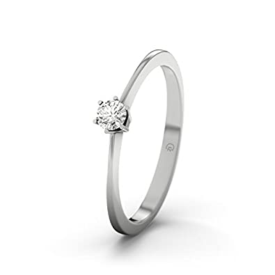 21DIAMONDS Women's Ring Auckland SI1 0.1 ct Brilliant Cut Diamond Engagement Ring - Silver Engagement Ring