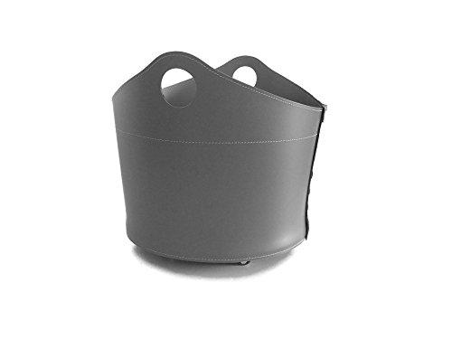 CADIN: borsa in cuoio portalegna e/o pellet, in cuoio rigenerato colore Grigio Antracite, con ruote gommate.