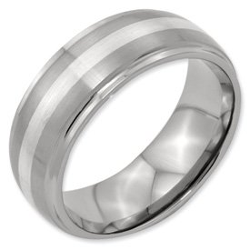 Genuine IceCarats Designer Jewelry Gift Titanium Ridged Edge Sterling Silver Inlay 8Mm Brushed And Polished Band Size 9.00