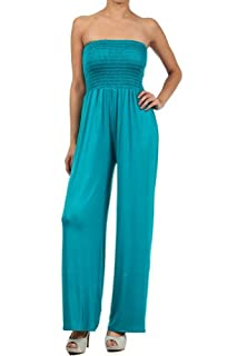 Kiwi Co. Alexa Solid Strapless Jumpsuit Teal Large