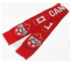 Double Jacquard Knitted Soccer Scarf - Canada, Red (Canada Soccer compare prices)