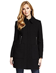 M&S Collection Wool Blend Zip Pocket Coat