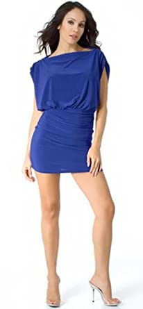 Sassy Short Trendy Stretch Draped-Sleeve Mini Dress from Hot Fash Dresses - PRIMO Royal Blue