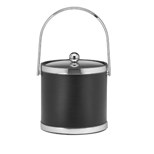 Kraftware Polished Chrome Ice Bucket With Track Handle And Metal Cover, Black - 3 Quart