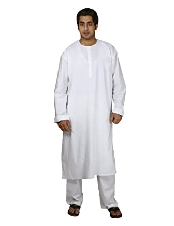 Amazon.com: Indian Costume White Cotton Kurta Pajama Men ...