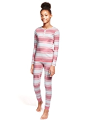 Pure Cotton Striped Cosy Pyjamas