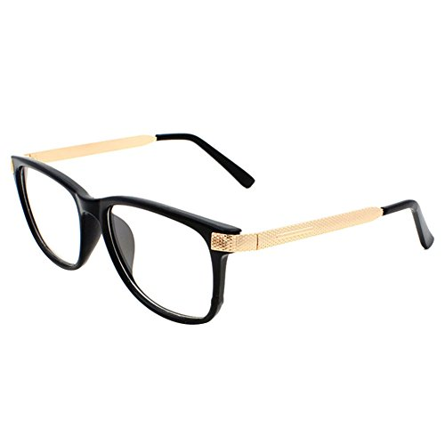 PanDaDa Women's Metal Frame Retro Square Eyewear Black