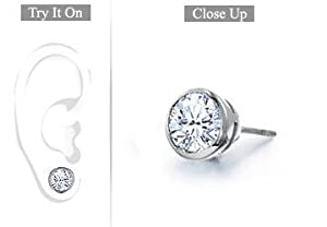 Fine Jewelry Vault UBMERPTBZ100D Mens Platinum- Bezel Set Round Diamond Stud Earring - 1.00 CT. TW.