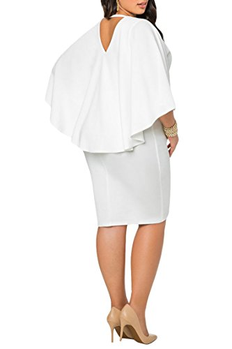 LaSuiveur Women's Dolman Sleeve V Neck Solid Bodycon Plus Size Dress 3XL White