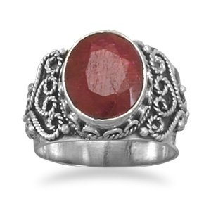 Sterling Silver Oval Rough-Cut Ruby Ring / Size 6