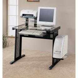 Buy Low Price Comfortable Black Glass Top Computer Desk by Coaster Furniture (B00409EFBC)