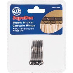 Nickel Curtain Rings Set of 6 by Supadec