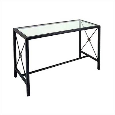 Large Console Table w/ Glass Insert Metal Finish: Aged Iron, Side Panel: Gothic (CN4919-G (AI))