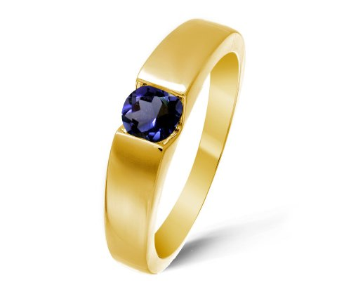 Modern 9 ct Gold Ladies Solitaire Engagement Ring with Iolite 0.40 ct