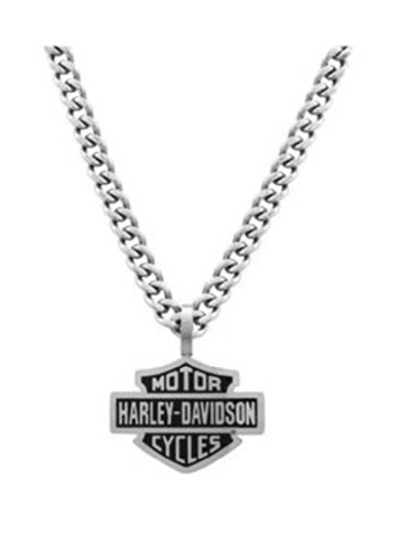 Harley-Davidson Mens Bar & Shield Curve Link Necklace Stainless Steel HSN0021-22