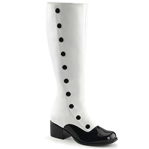 Womens-Black-and-White-Spats-Inspired-Knee-High-Boots-with-Button-Trim