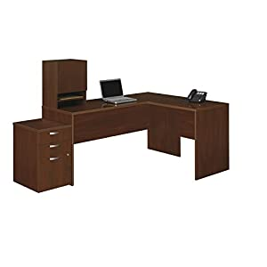 Bush Business Furniture Venture Line Hansen Cherry 66 by 52-Inch L-Workstation with Micro Hutch And 3 Drawer Mobile Pedestal