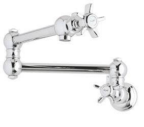 Rohl A1451LMPN-2 Country Kitchen Wall Mounted Swing Arm Fold Away Pot Filler in Polished Nickel