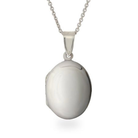 Sterling Silver Oval Locket Length 16 inches (Lengths 16 inches 18 inches Available)