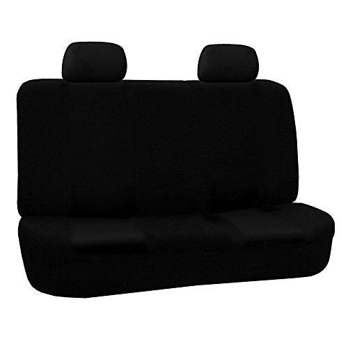 FH Group FB050BLACK012 Black Fabric Bench Car Seat Cover with 2 Headrests (Rear Seat Covers compare prices)