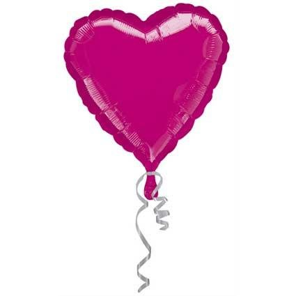 "Anagram International Heart Foil-Flat-Balloon, 32"", Fuchsia"