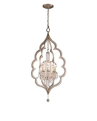 Truesdale Krystal Collection 8-Light Pendant, Silver Leaf/Antique Mist