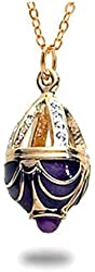 "Gold Finish Russian Faberge Style Egg Jeweled Cage Pendant Necklace, 18"" Museum Jewelry With History Card"